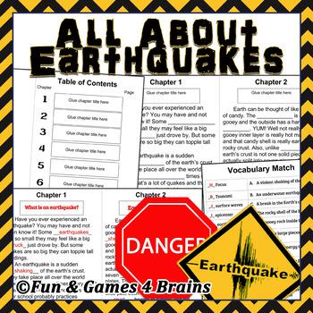 Earthquakes booklet- main idea - vocab-comprehension-context clues