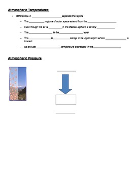 Earth's Atmosphere Guided Notes - Used with Powerpoint
