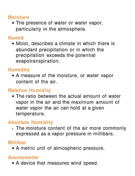 Earths Atmosphere Unit Vocabulary Lesson Plan