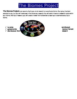 Earth's Biomes Project and Rubric