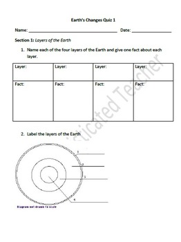 Earth's Changes  Assessment (erosion, weathering,  layers of the Earth)