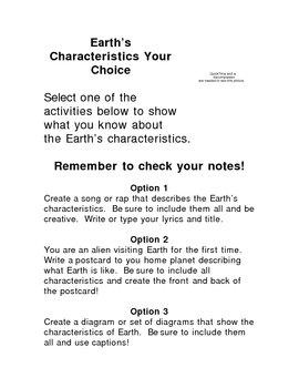 Earth's Characteristics Your Choice