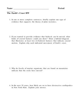 Earths Crust - Earthquakes - Plate Tectonics Homework