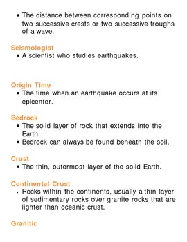 Earths Crust Unit Vocabulary Lesson Plan