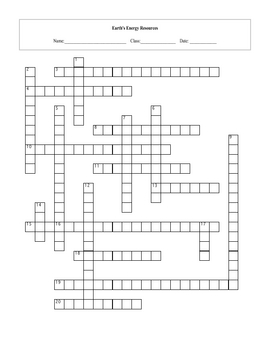 Earth's Energy Resources Crossword puzzle with key