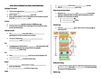 Earths History- Guided Notes