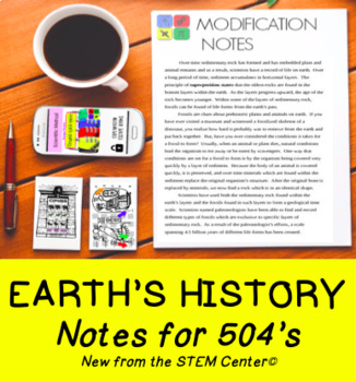 Earth History: Superposition & Paleontology Notes Modifications 504 IEP