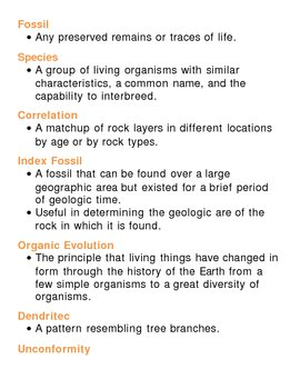 Earths History Unit Vocabulary Lesson Plan