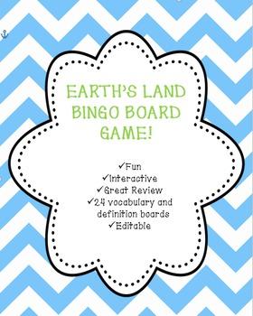 Earth's Land Vocabulary Bingo