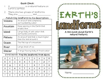 Earth's Landforms: Land and Water Features minibook, Bingo and writing activity