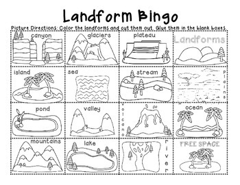 earth 39 s landforms land and water features minibook bingo and writing activity. Black Bedroom Furniture Sets. Home Design Ideas