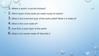 Earth's Layers Introduction Powerpoint