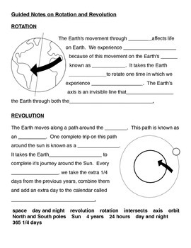 earth 39 s movement guided notes rotation and revolution by curly que science. Black Bedroom Furniture Sets. Home Design Ideas