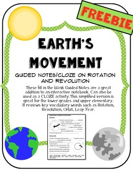 Earth's Movement Guided Notes (Rotation and Revolution)