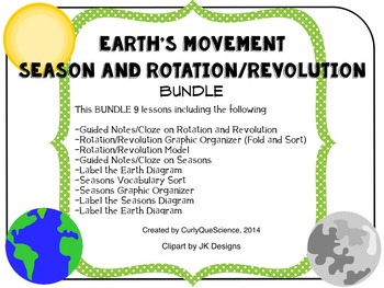 Earth's Movement (Seasons and Rotation/Revolution) BUNDLE