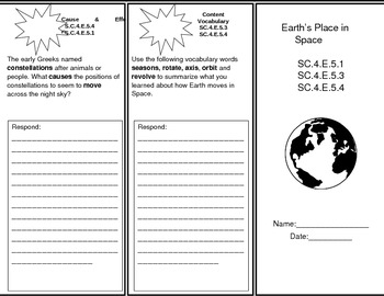 Earth's Place in Space Trifold