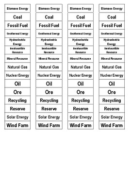 Earth's Resources Cut-n-Paste Vocabulary