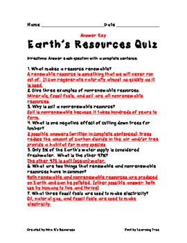 Earth's Resources Quiz