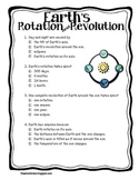 Earth's Rotation and Revolution Quiz