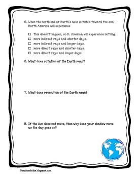 earth 39 s rotation and revolution quiz by that teaching spark tpt. Black Bedroom Furniture Sets. Home Design Ideas