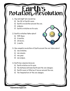 earth 39 s rotation and revolution quiz by that teaching spark teachers pay teachers. Black Bedroom Furniture Sets. Home Design Ideas