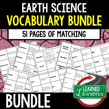 Earths Science 51 pages of Vocabulary Matching Cards (Earth Science BUNDLE)