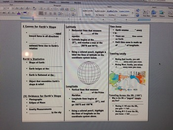 Earth's Shape, Place, & TIme Zone's Review Foldable! Awesome :)