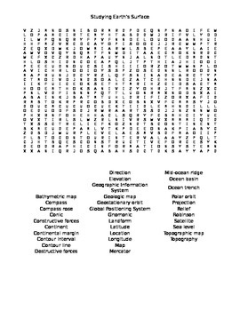 Earth's Surface Word Search