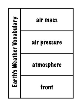 Earth's Weather Vocabulary Science Interactive Foldable