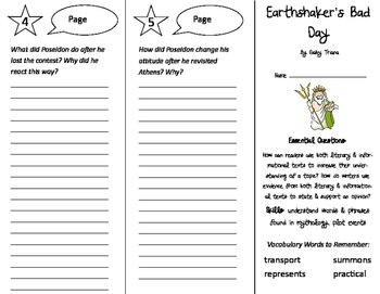 Earthshaker's Bad Day Trifold - ReadyGen 2016 4th Grade Unit 3 Module A