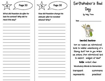 Earthshaker's Bad Day Trifold - ReadyGen 4th Grade Unit 3 Module A