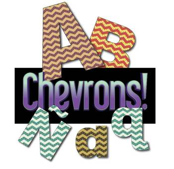 "3 Earthtone Chevron Alphabets  / 288 pcs - 3"" High, Vector PDF and PNGs"