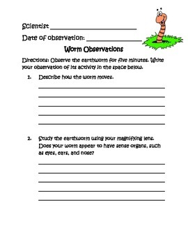 Earthworm Observation Sheet