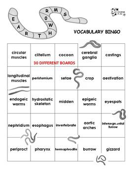 Earthworms Vocabulary Bingo