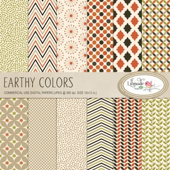 Earthy colors digital papers