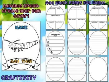 Earwigs - Writing Craft and Graphic Organizers SET, Book Template, Insects