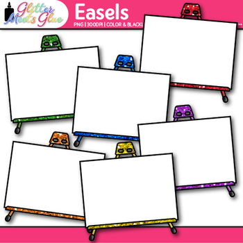 Easel Clip Art {Rainbow Upright Support for Display of Art Projects & Paintings}