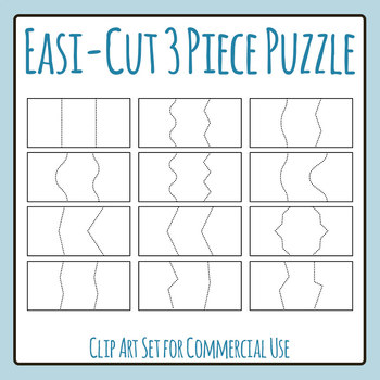 Easi-Cut 3 Piece Puzzle for Match Up Games Puzzle Card Templates Blank Clip Art