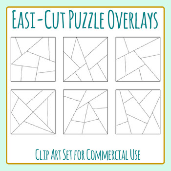 Easi-Cut Jigsaw Puzzle Template Overlays Clip Art for Commercial Use