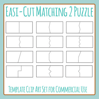 Easi-Cut Matching Two Puzzle Card Templates Blank Clip Art Commercial Use