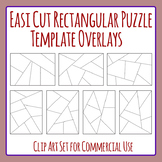 Easi-Cut Rectangle Jigsaw Puzzle Template Overlays Clip Art for Commercial Use