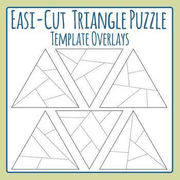 Easi-Cut Triangle Jigsaw Puzzle Template Overlays Clip Art for Commercial Use