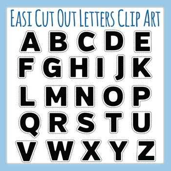 Easi-Cutout Letters Clip Art - Simple Cut Out Alphabet Clip Art Commercial Use