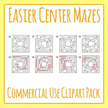 Easier Center Mazes with Solutions Commercial Use Clip Art Set