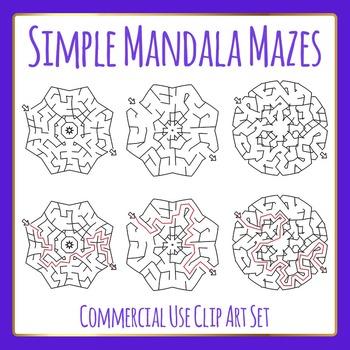 Easier Mandala Mazes - Clip Art for Commercial Use