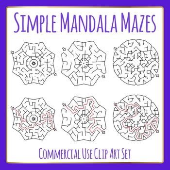 Easier Mandala Mazes - Clip Art for Commercial Use