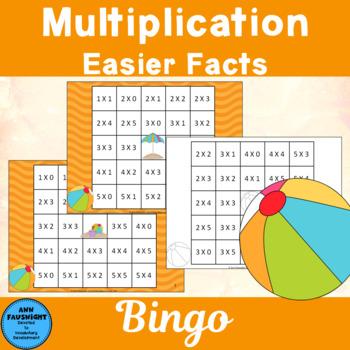 Easier Multiplication Facts  0 - 5 Reverse Bingo