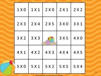 Multiplication Facts  0 - 5 Bingo