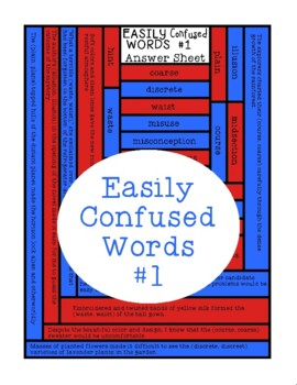 Easily Confused Words, Language Reading Comprehension, Context Clues, Sheet 1