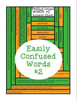 Easily Confused Words, Language Reading Comprehension, Context Clues, Sheet 2